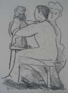 Bildhauer, Bleistiftzeichnung, 20 x 28 cm