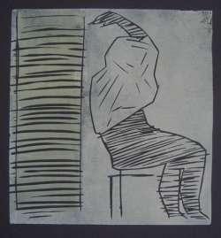 Die Sitzende, Holzschnitt, 35,5 x 37,5 cm