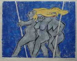 Drei Grazien, Farbholzschnitt, Auflage 5 Exemplare, 52 x 41 cm