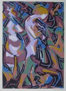 Samariterin, Farblinolschnitt, 24 x 34 cm, 2009