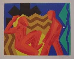 Zwei Frauen, Farblinolschnitt