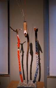 Drei Wächter, Holz bemalt, verkauft