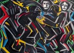 Familientreffen, Öl auf Leinwand, 90 x 125 cm, 2008