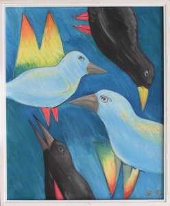 Vögel I, Öl auf Leinwand, 85 x 70 cm, 1997