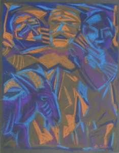 Drei Freunde mit Ziege, 64 x 48 cm